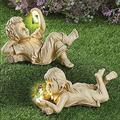 XYSFA Outdoor Boys and Girls Sculpture Decor, Solar Lighted Firefly Jar Garden Children Boy Girl Statue Outdoor Garden Statues Garden Sculptures & Statues (Color : Girl)