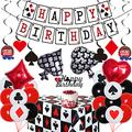 Casino Birthday Party Decorations for Men Poker Birthday Party Decor with Poker Theme Tablecloth Happy Birthday Banner for Las Vegas Magic Themed Party Supplies