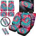 TSVAGA Tie Dye Car Seat Covers Unviersal Fit 14 Pack Full Set Auto Accessories Interior Seat Cover with Floor Mats,Seatbelt Pads,Steering Wheel Cover,Armrest Cover for Car,Truck,SUV