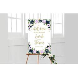 Promini Lavender Navy Wedding Welcome Sign, Welcome to Our Wedding Sign, Large Welcome Sign, Wedding Signs Printable, W910-18 x 24 Inch