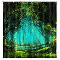Fantasy Forest Shower Curtain, Mystic Forest Trees in Enchanted Forest Artwork Girls Boys and Family Bathroom Accessories Set Nature Waterproof Polyester Fabric Bath Curtains with 12 Hooks