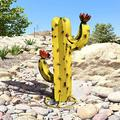 Cactus Sculpture,Metal Cactus Decoration,DIY Metal Cactus Plant,Rustic Hand Painted Mexican Metal Cactus,Garden Yard Art Decoration Statue Home Decor for Yard Stakes
