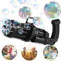 iLiker Gatling Bubble Gun, 8 Hole Huge Amount Automatic Bubble Maker for Kids, Bubble Gun Outdoor Toys for Boys Gatling Bubble Machine