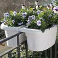 """Self-Watering Saddle Railing Planter, 16"""" White Balcony planters Railing Hanging Fence planters Window Flower Boxes Outdoor Plant Box Fence planters for Outdoor Plants Window Planter Boxes Outdoor"""