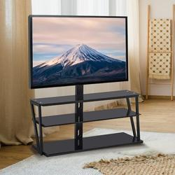 Baywell Universal Tempered Glass Metal Frame Three-Layer Glass TV Stand in Black, Size 49.2 H x 44.1 W x 17.3 D in | Wayfair
