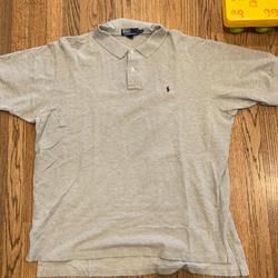 Polo By Ralph Lauren Shirts   Mens Polo Gray Shirt Sleeve Polo Shirt   Color: Gray   Size: Xxl