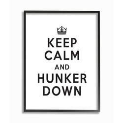 Stupell Industries Keep Calm & Hunker Down Stay Home Sign by Urban Road - Graphic Art PrintWood in Brown, Size 20.0 H x 16.0 W x 1.5 D in | Wayfair