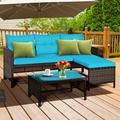 Ebern Designs 3 Piece Patio Wicker Rattan Sofa Set Wicker/Rattan in Blue   Wayfair DB6301A9A2634D789EFA80A23AA801B3
