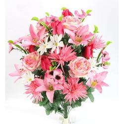 Primrue Artificial Spring 36 Stem Rose/Mum/Lily Flower Mixed Bush, Lavender, 8AD4BC5B06734DF4B16ED05D30CE808CPolyester | Wayfair