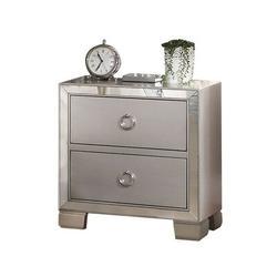 Rosdorf Park Mcquay 2 - Drawer Glass Nightstand in Glass in Gray, Size 23.0 H x 22.0 W x 15.0 D in   Wayfair BE5F386008EB41D6997548BB843EC67A