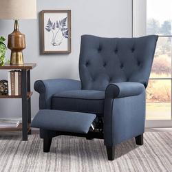 Red Barrel Studio® Recliner Elizabeth Accent Chair For Living Room Easy To Push Mechanism, Elegant Roll Arm Chair in Black/Blue/Navy | Wayfair