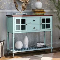 Darby Home Co Sideboard Console Table w/ Bottom Shelf, Farmhouse Wood/Glass Buffet Storage Cabinet Living Room in Blue/Brown | Wayfair