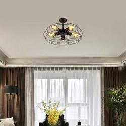 17 Stories Retro Fan Ceiling Lamp Chandelier Pendant Lamp Loft Lamp Light (Lamps Not Included) Metal in Black   Wayfair