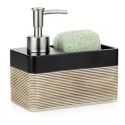 Latitude Run® 2-In-1 Hand Soap Pump Dispenser w/ Sponge Holder in Black, Size 5.86 H x 3.07 W x 5.59 D in | Wayfair