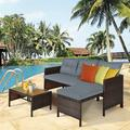 Ebern Designs 3 Piece Patio Wicker Rattan Sofa Set Wicker/Rattan in Gray   Wayfair 9D8455DA1D11484A80E42BBE3631A984