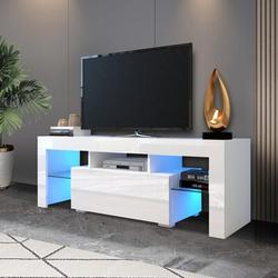 Ivy Bronx Entertainment TV Stand, Large TV Stand TV Base Stand w/ LED Light TV Cabinet. Wood in White, Size 17.7 H x 51.2 W x 13.8 D in | Wayfair