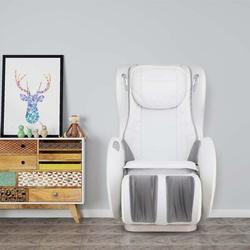 Brayden Studio® Massage Chairs SL Track Full Body & Recliner, Shiatsu Recliner, Massage Chair w/ Bluetooth Speaker Faux Leather in White   Wayfair