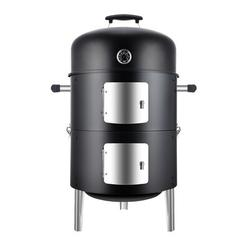 "WEBBQ We Bbq Vertical 17.5 Inch Steel Charcoal Smoker, Heavy Duty Round Bbq Grill For Outdoor Cooking, Black, Size 35""H X 22""W X 17""D 