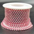 Towenm 1 Roll 10 Yards Rhinestone Chain, 3mm Crystal Rhinestones Close Chain Roll, Sew on Crystal Rhinstone Chain Trim, Crystal Claw Cup Chain (Light Pink Base + Clear Rhinestone, SS12 / 3mm)