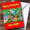Birthday Greeting Card, Jungle Animals Personalised Birthday Greetings Card, 9.65 X 7 Inch, 2 Pack