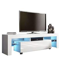 TV Stand Cabinet - Modern Minimalist TV Cabinet with High-Gloss LED Lights Modern Minimalist for Home Living Room Furniture TV Cabinet Storage Shelves Entertainment Center (White,130×35×45cm)