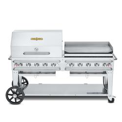 """Crown Verity CV-RCB-72RGP-SI50/102 70"""" Mobile Gas Commercial Outdoor Grill w/ Roll Dome, Liquid Propane"""