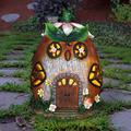 Exhart Solar Hand Painted Acorn Owl Fairy Garden House Statue, 7 by 9 Inches