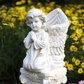 Praying Angel Cherub Wings Garden Planter Flowerpot Cement Round Flower Seed Herb Pot Planter Garden,B 35cm