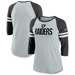 Women's Nike Silver/Black Las Vegas Raiders Sleeve Stripe 3/4 Raglan Tri-Blend T-Shirt