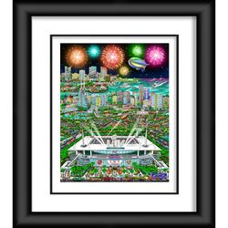 """Super Bowl LIV Fanatics Authentic Framed 23"""" x 27"""" """" Artist Enhanced Deluxe Three-Dimensional Art Print Hand Painted and Signed by Charles Fazzino"""
