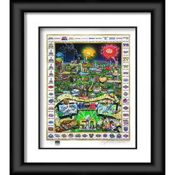"""Celebrate 50 Years of Super Bowl Fanatics Authentic Framed 27"""" x 32"""" Artist Enhanced Three-Dimensional Art Print Hand Painted and Signed by Charles Fazzino - Limited Edition 250"""