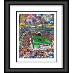 """New England Patriots Fanatics Authentic Framed 23"""" x 27"""" Artist Enhanced Deluxe Three-Dimensional Art Print Hand Painted and Signed by Charles Fazzino"""