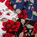 Nouveau tissu en coton de haute qualité imprimé rose rouge frais, tissu en sergé fin pour poupée,