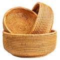 NATURAL NEO Fruit Baskets For Bowl Food Storage In Kitchen Room Small To Large Vintage Decorative Rattan Wicker Basket Serving Snack Bread Key Holder Kit 3