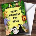 Birthday Greeting Card, Jungle Lion Elephant Monkey Hippo Jungle Personalised Birthday Greetings Card, 9.65 X 7 Inch, 2 Pack