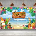 Summer Aloha Luau Party Decorations Tropical Hawaiian Beach Birthday Banner Backdrop Large Summer Flowers Sea Palm Yard Sign backgroud Themed Birthday Party Indoor Outdoor Car Decorations Supplies