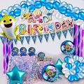 Baby Shark Birthday Decorations Party Supplies Set for Girls Boys with 264 Pcs Shark Party Supplies for Baby Set with Aluminum Foil balloons, Banner, Tableware, Baby Shark Stickers, Balloons etc for Baby Shark Theme Birthday Party Decorations