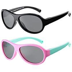 Polarized Baby Sunglasses TPEE Rubber Flexible Frame Shades Glasses for Girls Boys Age 0-2 (Black Frame/Grey Lens + Pink Green Frame/Grey Lens)
