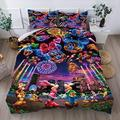 Sheindoo Mickey Mouse Minnie Mouse Bedding Sets Queen Bed Set for Boys Girls Kids Toddler Colorful Fireworks Bedding Duvet Covers Qulit Sets