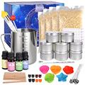 Candle Making Kit, DIY Candles Making Supplies Including Beeswax Candle Make Pouring Pot Candle Wicks Candle Wicks Sticker Candle Wicks Holder Candle Tins and Spoon and More