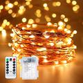Battery Operated String Lights, Outdoor String Lights, 33ft 100 LED Waterproof Battery Powered Starry Fairy Lights with Remote Control 8 Lighting Modes for Garden Room Christmas(Warm White)