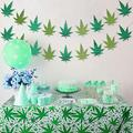 2 Pieces Tropical Leaves Weed Banners and 51.2 x 86.6 Inch Pot Leaf Tablecover Hawaii Palm Leaves Tablecloth Tropical Leaves Banner for Birthday Party Picnic Home Baby Shower Decoration Supplies