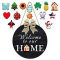 Welcome Sign Front Door Hanger, Welcome to Our Home,Welcome Sign for Farmhouse, Rustic Wooden Door Hangers Front Porch Decor, Hanging Vertical Sign