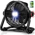 RUNACC Floor Fan Battery Operated - Outdoor Fan with Light Quiet Portable 14400mAh Industrial Fan with Power Bank 3500CFM Fan 360° Adjustable for Patios | Garage | Camping | Outdoor