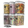 TAEVEKE Large Cereal Dry Food Storage Containers Set, 4L-6Pcs Airtight Cereal Storage Containers,BPA Free Cereal Containers Storage Set,Ideal for Dry Food,Sugar, Flour,with Lables & Marker (BLACK)