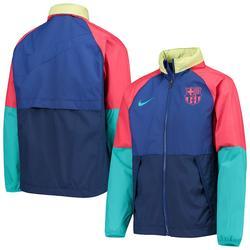 """Nike Barcelona Youth Blue/Navy All-Weather Raglan Full-Zip Jacket"""