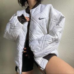 Nike Jackets & Coats | 90s Nike Quilted Bomber Jacket | Color: Black/White | Size: Xl