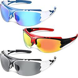 3 Pieces Polarized Sports Sunglasses Polarized Cycling Sunglasses Windproof Outdoor Sports Eyewear TAC Sunglasses for Men Women Youth Outdoor Cycling Running Hiking Fishing Driving Motorcycling