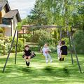 Kids Swing Set Outdoor Large Playground Swing Set with Heavy Duty Metal A-Frame Swing Stand, 2-Seat Glider, Saucer Swing and Seat Swing, Garden Backyard Children Play Swing Set for Fun