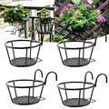 Hanging Railing Planter Metal Railing Flower Pot Holder Iron Art Hanging Baskets Flower Hanging Planter Baskets for Patio Balcony Porch or Fence Planters for Indoor and Outdoor Use Black 4 Pack